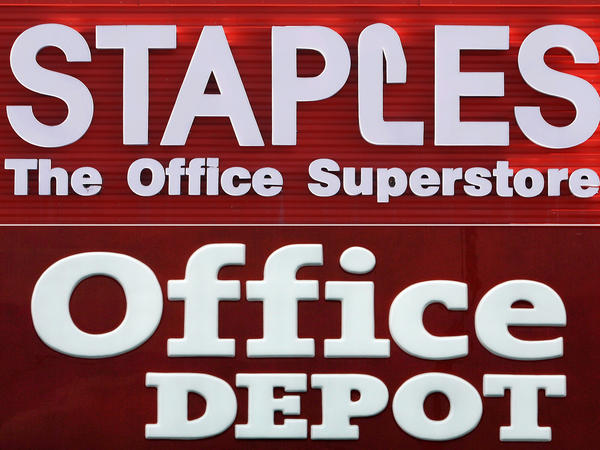 "A federal judge blocked the merger of Staples and Office Depot, saying Tuesday that the government had made the case that the merger had a ""reasonable probability"" of hurting competition in office supplies."