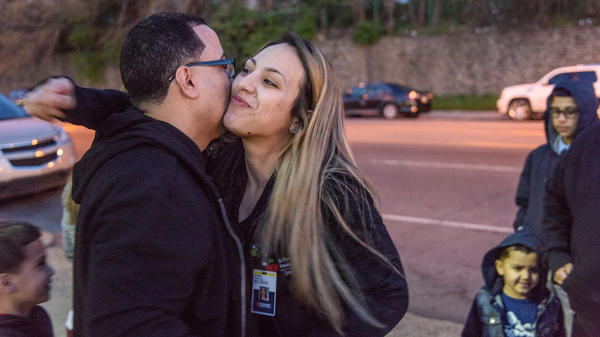 David Padilla with his daughter Sasha after being released a halfway house. This was his last step to returning home after nearly two decades in federal prison.