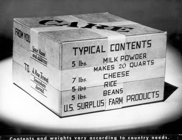 "This CARE package included 5 pounds of milk powder, 7 pounds of cheese, 5 pounds of rice and 5 pounds of beans. In 2001, Klaus Pütter, a German POW held in a French hospital, recalled that at first, he was suspicious of American motives behind the package. Eventually, he concluded that ""Americans are different. They help people in need, regardless of who and where they are."""