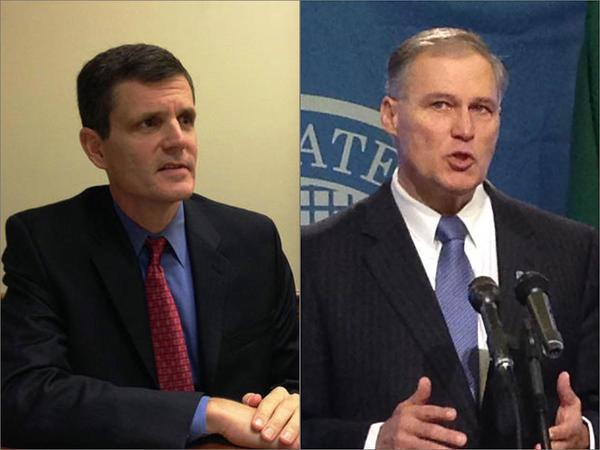 Washington State Auditor Troy Kelley, left, and Gov. Jay Inslee