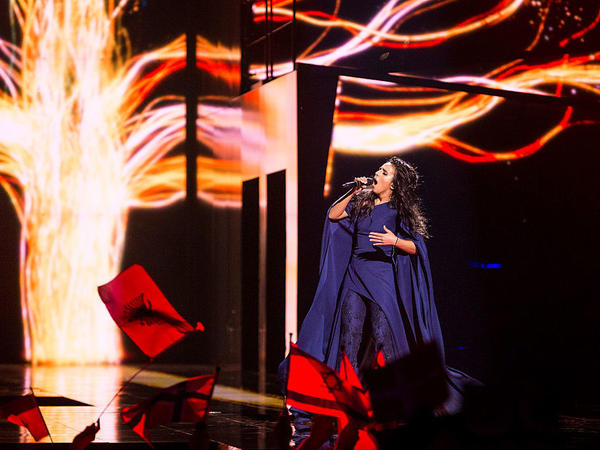 "Ukraine's Jamala performs the song ""1944"" during the semifinals of the 2016 Eurovision Song Contest in Stockholm, Sweden, on Thursday."