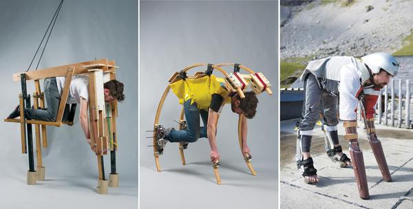 Thwaites went through several quadruped exoskeleton designs before settling on one that relies on prosthetics (right).