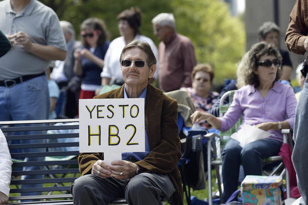 Supporters of House Bill 2 gather for a rally at the North Carolina State Capitol in Raleigh, N.C., on April 11. A recent poll found that nearly 49 percent of North Carolinians support at least some part of the controversial law.