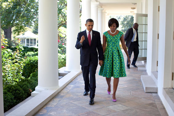 President Obama and First Lady Michelle Obama walk along the Colonnade of the White House on Sept. 21, 2010. Michelle's fashion choices have influenced designers' profits.