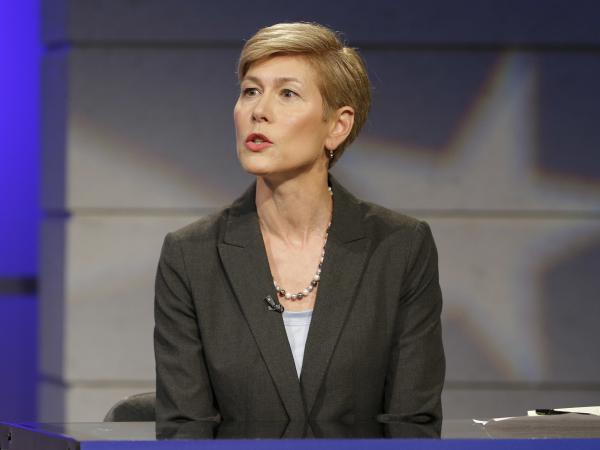 North Carolina Democratic Senate candidate Deborah Ross responds to a question during a live televised debate.