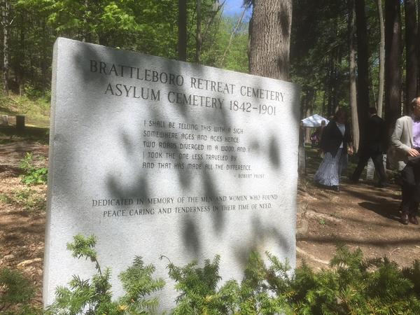 A new stone has been installed at the entrance of the Brattleboro Retreat Cemetery as a memorial to those who have been laid to rest there.