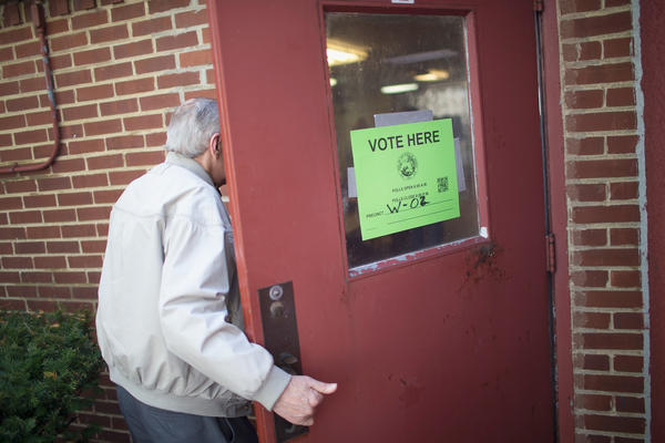 A voter enters a polling place on May 3 in Whiting, Ind. Older voters feel that the issues that concern them haven't been mentioned enough on the campaign trail.