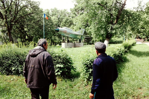 A MiG-21 fighter — a leftover monument from the Soviet era — is the centerpiece of the Aviators Neighborhood in Deveselu, Romania. Now the base has become a U.S. Navy facility that is part of NATO's anti-missile shield for Europe.