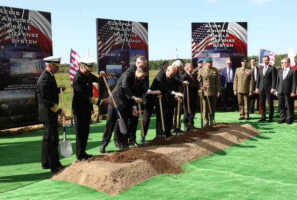 U.S. and Polish officials, including Poland's President Andrzej Duda and U.S. Deputy Defense Secretary Robert Work, take part in the May 13 groundbreaking for a U.S. missile defense station in Redzikowo, Poland. The station will be part of NATO's larger European defense shield.
