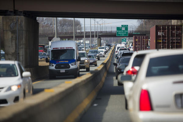 Early afternoon bumper-to-bumper traffic on 93 in Milton. (Jesse Costa/WBUR)