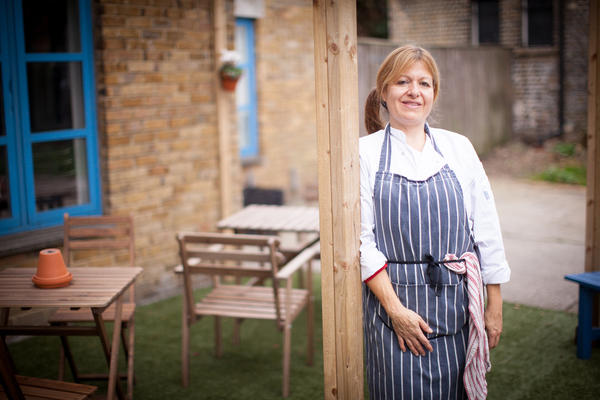 "Roberta Siao, a Brazilian immigrant in London, works for Mazi Mas, a London pop-up restaurant that trains and employs immigrant and refugee women. ""Coming here allows women to feel confidant and respected, to have a life outside of the home,"" Siao says."