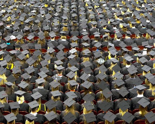 Caps (some decorated) of graduates at the Unversity of Nebraska. (John Walker/Flickr)