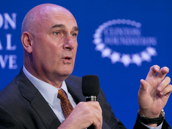 Monsanto chief executive Hugh Grant says he likes the idea of a merger — in theory. He's shown here at an appearance in New York last September.