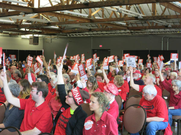 <p>Opponents to the proposed Millennium Coal Terminal in Longview, Wash., appear at a public hearing on Tuesday, May 24, 2016.</p>