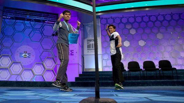 Nihar Janga, 11, of Texas, left, and Jairam Hathwar, 13, of New York, celebrate Thursday in National Harbor, Md., after being named co-champions in the 2016 National Spelling Bee.