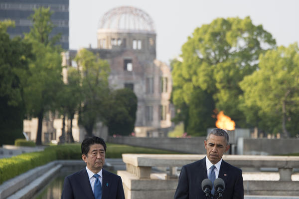 President Obama and Japanese Prime Minister Shinzo Abe deliver remarks at the Hiroshima Peace Memorial Park in Hiroshima on Friday.
