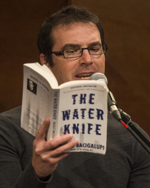 "'Author, Paolo Bacigalupi reads a passage from his book, The Water Knife, at the live performance of Michel Martin's Going There at Colorado State University Tuesday May 24, 2016. The show was titled, "" The Future of Water.""'"