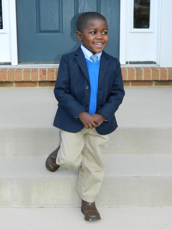 Maxwell Ealons, 4, enjoys dressing like his father, Corey. His dressy clothes usually come from Children's Place, H&M, Target and Zara. He actually dresses himself for school with Spider-Man, Batman and Redskins shirts, plus jeans or sweat pants.