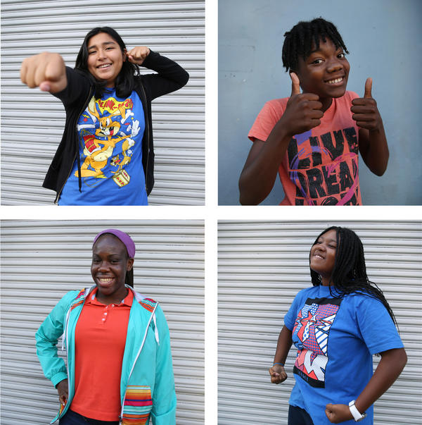 Clockwise from top left: Sophia Neciosup, 13, Natalia Cox, 13, Alexis Brooks, 13, and Tehya Ford, 16, all participated in a Black Girls CODE summer camp session in San Francisco.