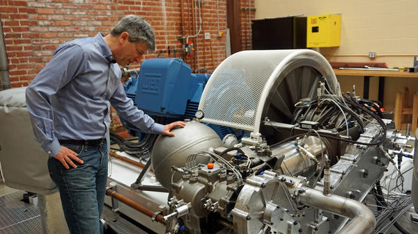 Steve Crane of LightSail Energy in Berkeley, Calif., has developed energy storage technology that compresses air in large tanks, so it can generate electricity when needed.