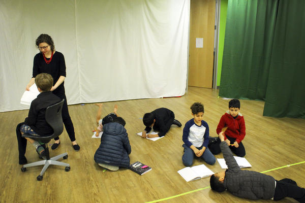 Students rehearse a play at Khan Lab School.