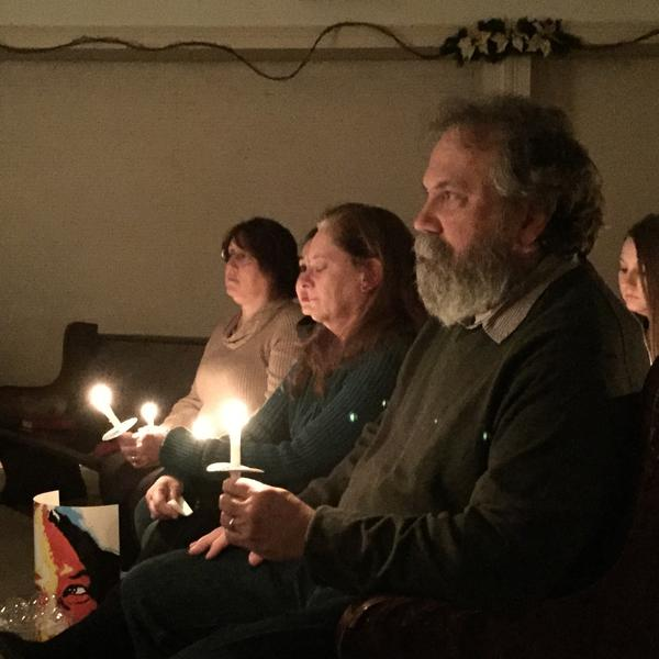 Doug Griffin, whose daughter Courtney died of an overdose, attends a church service for people touched by addiction.