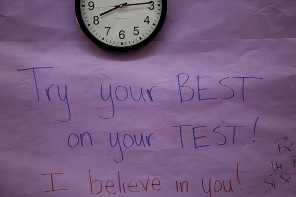 Testing motivation written on the walls at Fuerza Community Prep.