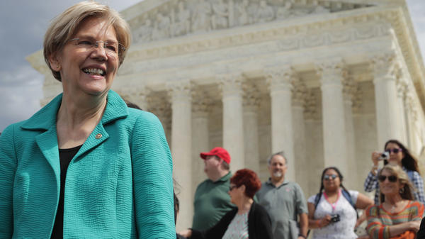 Sen. Elizabeth Warren at a news conference earlier this year urging Senate Republicans to confirm President Obama's Supreme Court nominee.