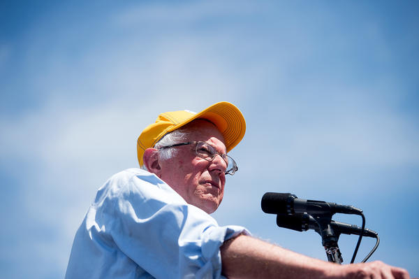 Sen. Bernie Sanders, shown here at a campaign rally in Palo Alto, Calif., on June 1, is using his fundraising abilities to help local and state candidates across the country.