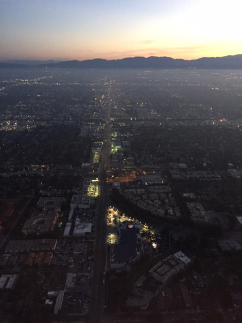 Host Jeremy Hobson's view of Los Angeles from the Fox 11 Morning News helicopter. (Jeremy Hobson/Here & Now)