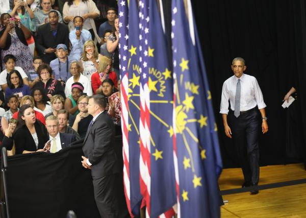 President Obama arrives at Concord Community High School  on June 1, in Elkhart, Ind.