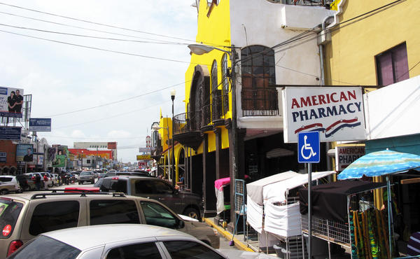 Pharmacies that line the main street of Nuevo Progreso, Mexico, sell many medicines over the counter that would require a prescription in the U.S. That's made the stores popular with visitors from nearby Texas.