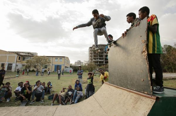 Eyob and the crew at a miniramp session. This ramp was destroyed to make space for the new Addis Skatepark.
