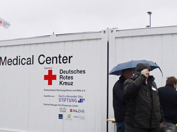 A reconfigured, high-tech shipping container houses a Hamburg refugee shelter's primary care clinic. More are planned.