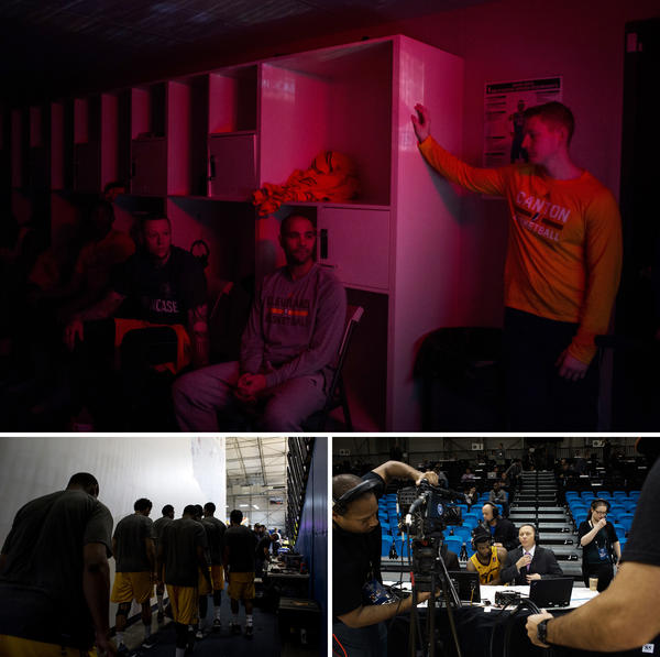 (Top) From left, Canton Charge forward Nick Minnerath, head coach Jordi Fernandez and coach Steve Klei watch game film of the Idaho Stampede before the two teams meet on court at the Showcase on Jan. 6. (Bottom left) The Charge enter the arena. (Bottom right) Chad Andrus of NBA TV prepares to interview guard C.J. Wilcox after the Charge's win.