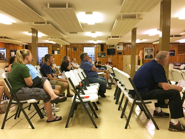 Union members at the regular monthly meeting of Local 1123 in Canton, Ohio, before the United Steelworkers national office gave its official endorsement to Democrat Hillary Clinton.