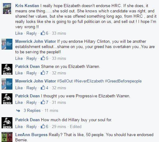 A sample of comments on Elizabeth Warren's Facebook page after news broke that she was going to endorse Hillary Clinton.