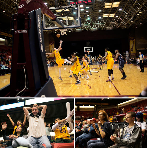 (Top) The Canton Charge play against the Iowa Energy in Canton on Feb. 16. (Bottom left) Chris Curl holds his 6-month-old son, Xander, above his head when the Canton Charge defeat the Iowa Energy. (Bottom right) Brenda Newport is a longtime fan of the Canton Charge living with breast cancer. Five years ago, she got courtside seats for the games.