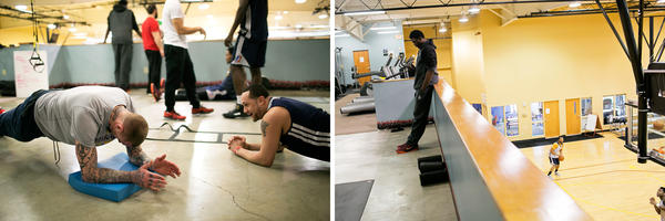 (Left) Canton Charge forward Nick Minnerath (at left) and guard Antoine Aguido work out during practice in Canton in April. (Right) Mike Dunigan, who plays center for the Canton Charge, takes a break during training. The team is the D-League affiliate of the NBA's Cleveland Cavaliers.