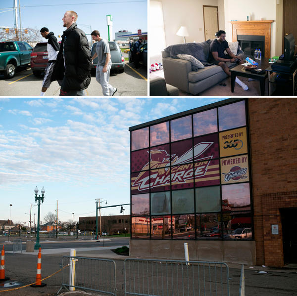 (Top left) Nick Minnerath walks to his car after eating lunch with his teammates at a Bob Evans restaurant. (Top right) Mike Dunigan plays video games in his apartment in Canton. (Bottom) The Canton Memorial Civic Center, the Charge's home stadium.