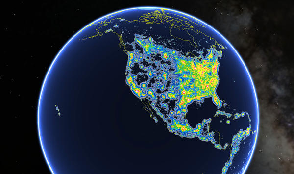 This view of North America as seen in Google Earth shows colored areas that denote levels of light pollution as detailed in the New World Atlas of Artificial Sky Brightness.