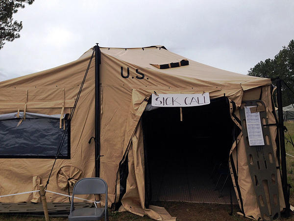 This tent is part of a MASH-style hospital set up at the Mason County Fairgrounds near Shelton as part of the Cascadia Rising earthquake drill. This temporary facility is equipped with four trauma beds.