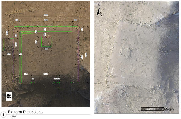 This composite of drone images shows architectural details and measurements (left) and a close-up view of a monumental structure near the center of Petra in Jordan.