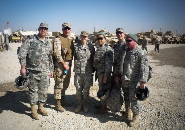 The Gray Team with Maj. Jennifer Bell (center), who ran a concussion clinic, seen in the Helmand province of Afghanistan in 2010: Col. Michael Jaffee (from left) , Capt. James Hancock, Col. Geoffrey Ling, Lt. Col. Shean Phelps and Col. Robert Saum.