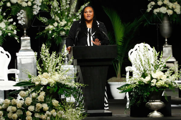 Daughter Maryum Ali speaks during the memorial service for boxing legend Muhammad Ali.