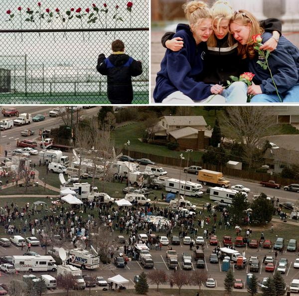 (Left) A boy looks through the fence at the Columbine High School tennis courts in Littleton, Colo., in April, 1999. (Right) From left, Rachel Ruth, Rhianna Cheek and Mandi Annibel, all 16-year-old sophomores at Heritage High School in Littleton, console each other during a vigil service in Denver's Civic Center Park. (Bottom) An aerial view of the news media compound near Columbine High School.
