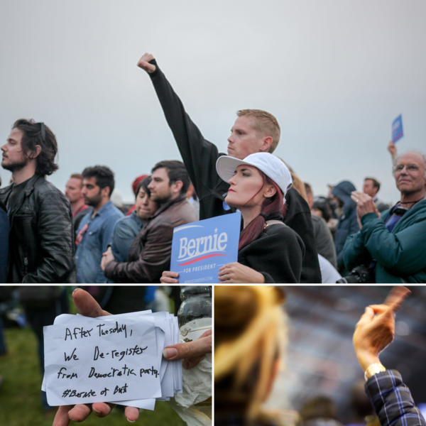 Sanders' call to a revolution has been answered at recent rallies with gestures of anger toward the status quo and distrust of the Democratic Party's primary process.