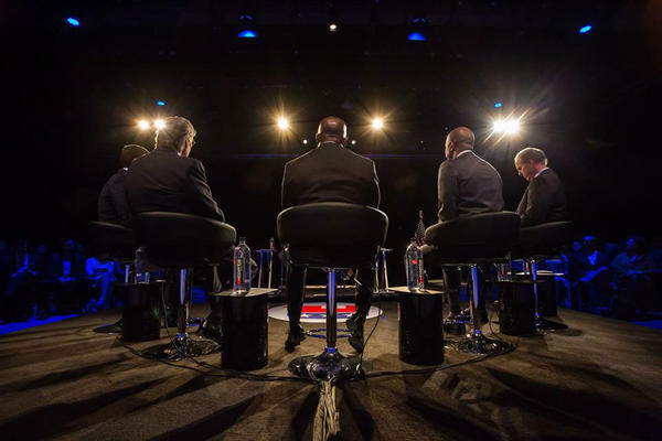 The five GOP candidates on stage during 9News' primary candidate debate.