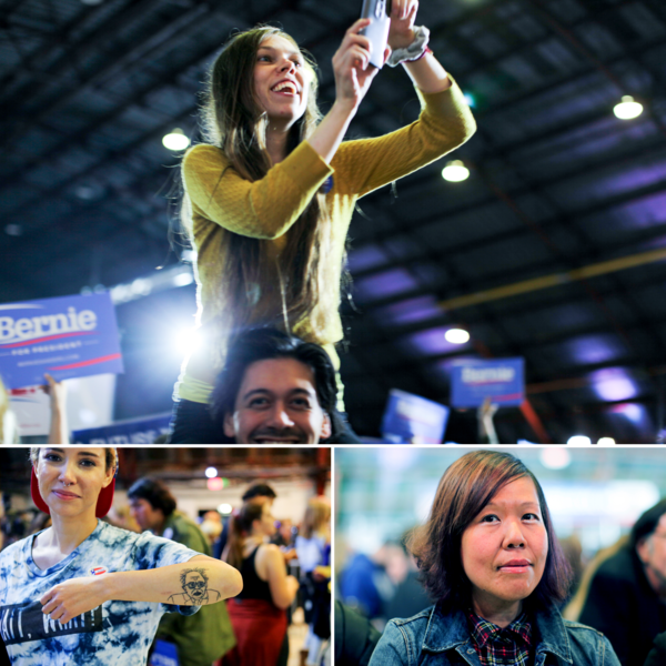 Sanders' supporters, including Winnie Wong (bottom right), founder of the online group People for Bernie, celebrated as though they had won even after significant losses in the June 7 primaries, which had been touted as critical to the campaign.