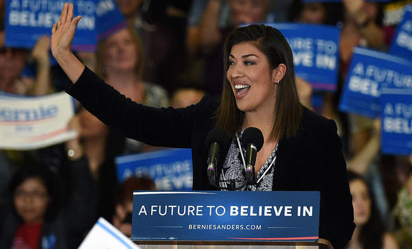Democratic congressional candidate Lucy Flores speaks at a campaign rally for Democratic presidential candidate Bernie Sanders in February in Las Vegas.